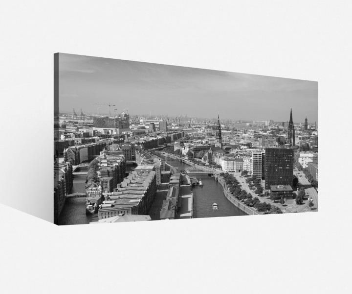 leinwand 1tlg hamburg schwarz wei skyline stadt bild bilder leinwandbild 9h073 leinwandbilder. Black Bedroom Furniture Sets. Home Design Ideas