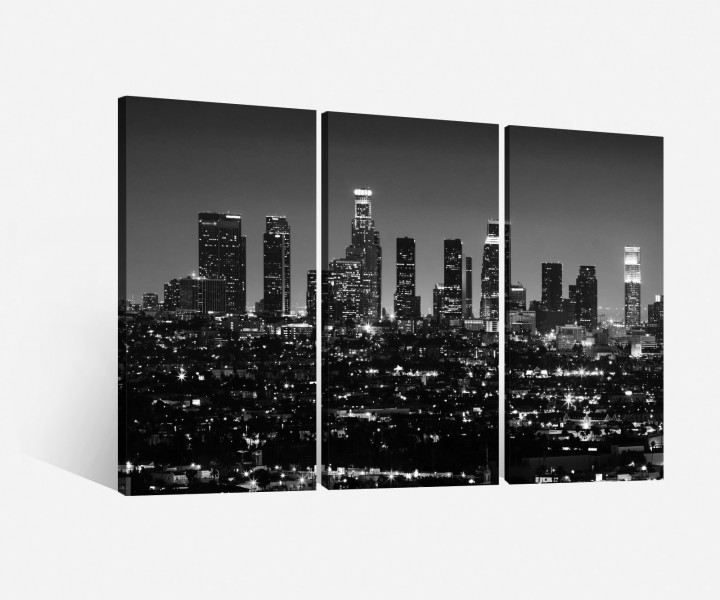 leinwand 3 tlg los angeles schwarz wei stadt skyline la. Black Bedroom Furniture Sets. Home Design Ideas