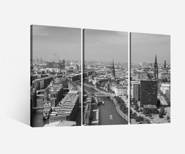 leinwand 3 tlg hamburg schwarz wei stadt skyline bilder leinwandbild 9h061 leinwandbilder. Black Bedroom Furniture Sets. Home Design Ideas