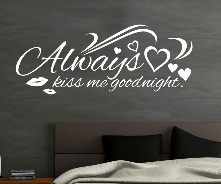 Wandtattoo Always kiss me goodnight Spruch Aufkleber Herz ...