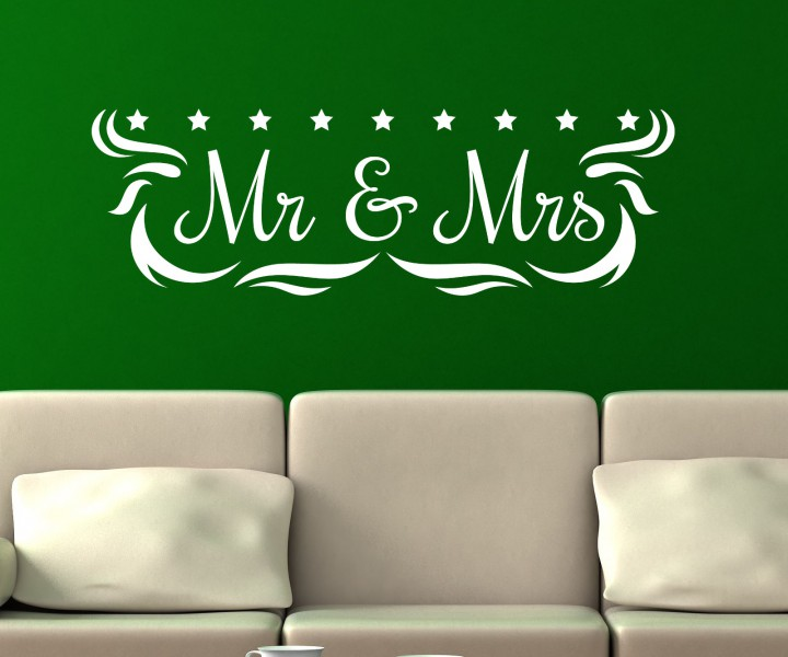 wandtattoo mr mrs anschrift wand deko sticker aufkleber wandbild schlafzimmer autoaufkleber. Black Bedroom Furniture Sets. Home Design Ideas