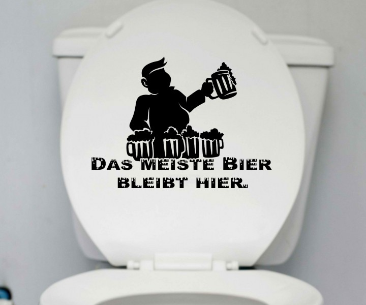 wc deckel aufkleber bier toiletten m nner spruch. Black Bedroom Furniture Sets. Home Design Ideas