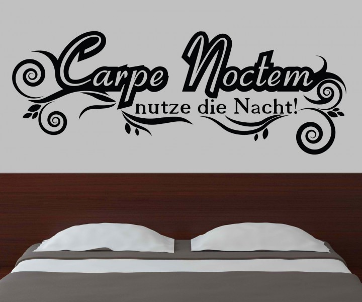 wandtattoo carpe noctem nutze die nacht schafzimmer spruch t r aufkleber 1d133 wandtattoos. Black Bedroom Furniture Sets. Home Design Ideas