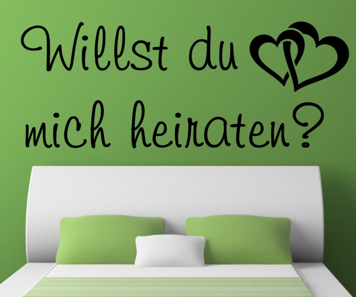 wandtattoo heiraten spruch hochzeit antrag ehe aufkleber. Black Bedroom Furniture Sets. Home Design Ideas