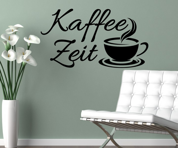 wandtattoo kaffee zeit coffee spr che sticker spruch cafe aufkleber k che wohnzimmer. Black Bedroom Furniture Sets. Home Design Ideas