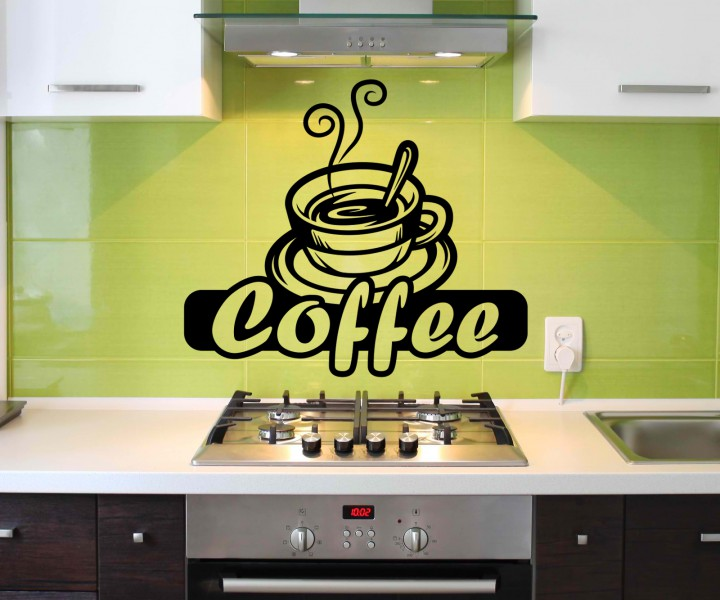 wandtattoo kaffee coffee spruch spr che wandsticker cafe aufkleber k che wohnzimmer kaffeebohnen. Black Bedroom Furniture Sets. Home Design Ideas