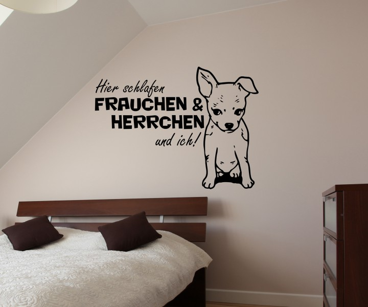 wandtattoo chihuahua spruch hier schlafen frauchen ich sticker tier hunde t r bad aufkleber. Black Bedroom Furniture Sets. Home Design Ideas