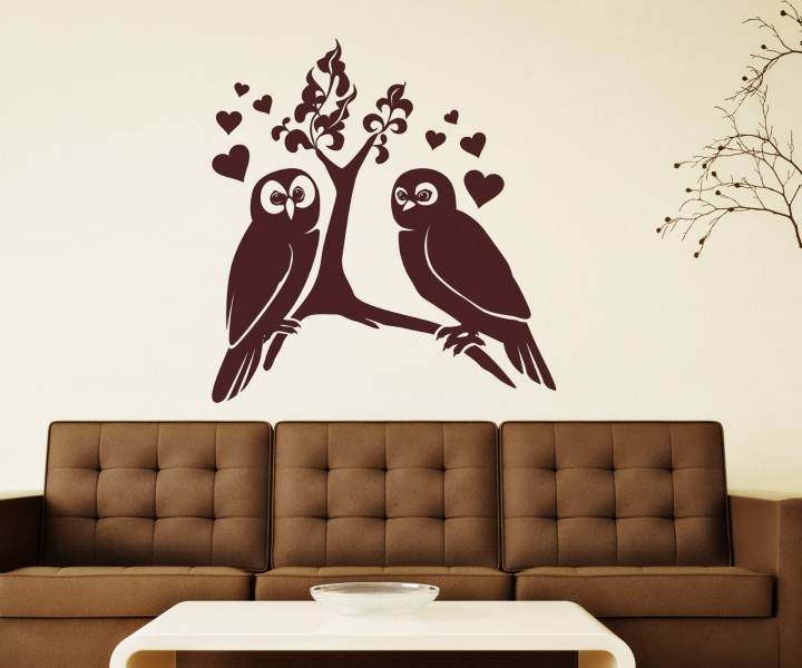 wandtattoo liebe eule eulen uhu blumenranke paar vogel. Black Bedroom Furniture Sets. Home Design Ideas
