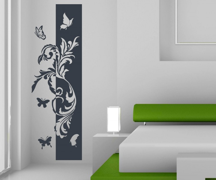wandtattoo banner blumenranke schmetterlinge deko streifen bl ten flur wandaufkleber wohnzimmer. Black Bedroom Furniture Sets. Home Design Ideas