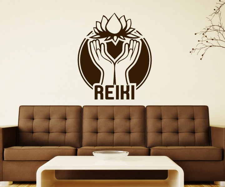 wandtattoo reiki yoga blume lotus hand sticker auto om zeichen buddha asien spr che schriftzug. Black Bedroom Furniture Sets. Home Design Ideas