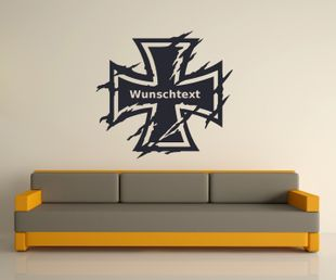 Wunschtext Wandtattoo XXL Eisernes Kreuz Wand Tür Aufkleber Text Sticker Bundeswehr Iron Cross Oldschool Car 2P084