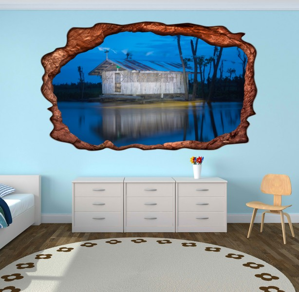 3d wandmotiv haus am see meer wasser fenster bildfoto. Black Bedroom Furniture Sets. Home Design Ideas