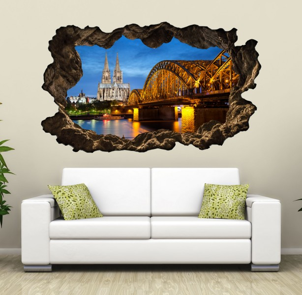 3d wandtattoo k lner dom k ln skyline stadt br cke wandbild wandsticker selbstklebend wohnzimmer. Black Bedroom Furniture Sets. Home Design Ideas