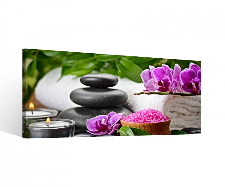 leinwand 1 tlg leinwandbilder wellness feng shui yoga blumen rosa bl tter steine bild keilrahmen. Black Bedroom Furniture Sets. Home Design Ideas