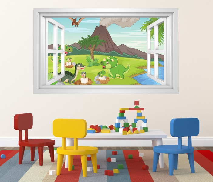 3d wandtattoo kinderzimmer dino vulkan cartoon bild selbstklebend wandbild wandsticker. Black Bedroom Furniture Sets. Home Design Ideas