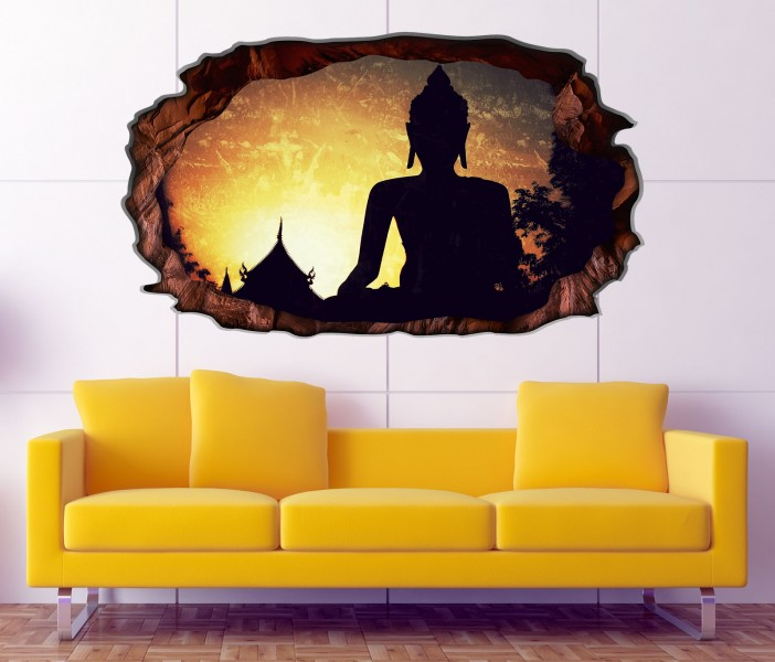 3d wandtattoo buddha buddhismus feng shui religion selbstklebend wandbild wandsticker wohnzimmer. Black Bedroom Furniture Sets. Home Design Ideas