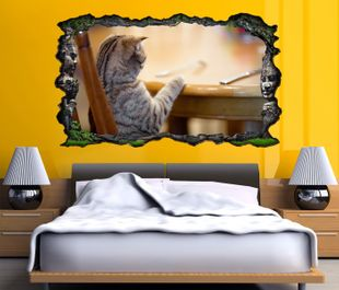 3d wandtattoo katze lustig essen cat bild selbstklebend wandbild sticker wohnzimmer wand. Black Bedroom Furniture Sets. Home Design Ideas
