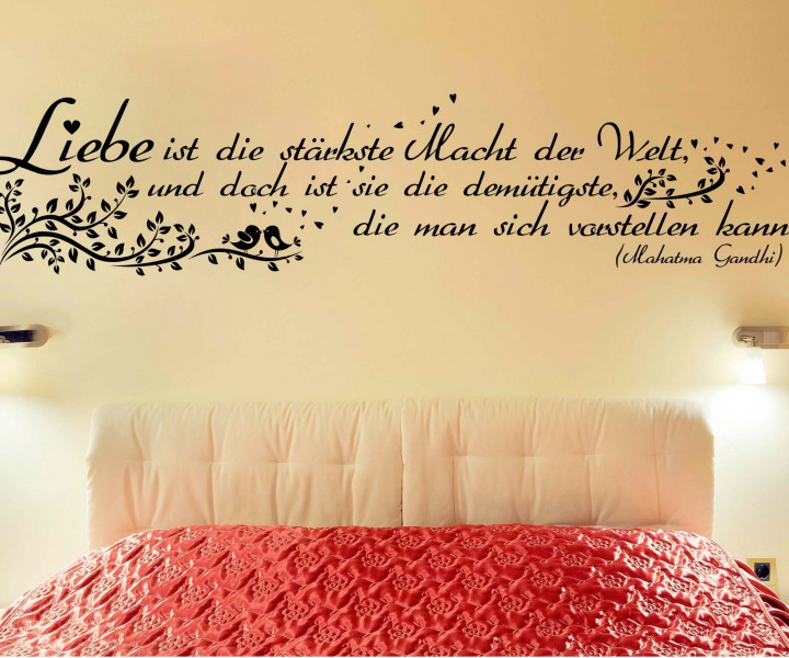 wandtattoo spruch liebe ist macht wandsticker zitate. Black Bedroom Furniture Sets. Home Design Ideas