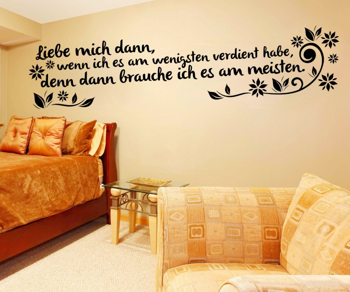 wandtattoo spruch liebe mich wandsticker zitate tattoo. Black Bedroom Furniture Sets. Home Design Ideas