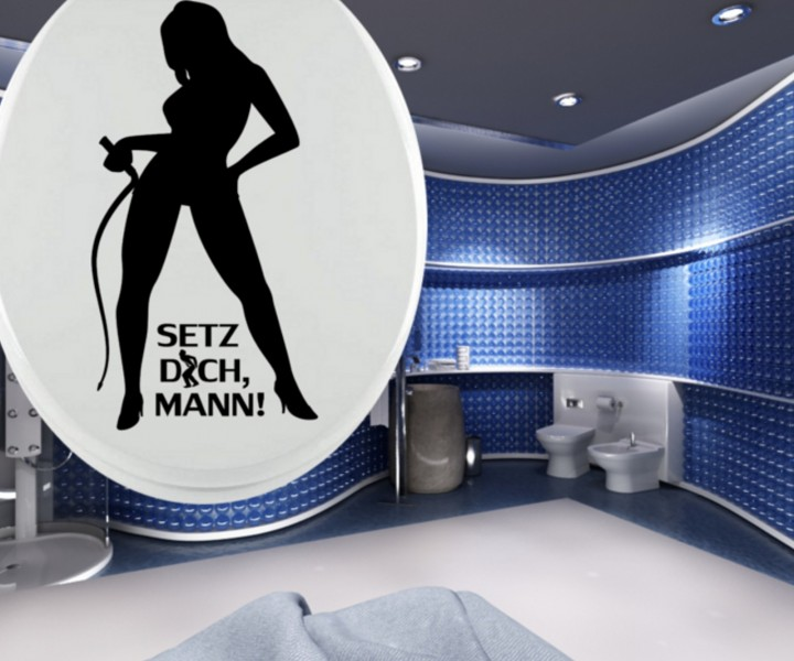 wc deckel aufkleber domina toiletten tattoo klo sticker bad deko wandtattoo spruch. Black Bedroom Furniture Sets. Home Design Ideas