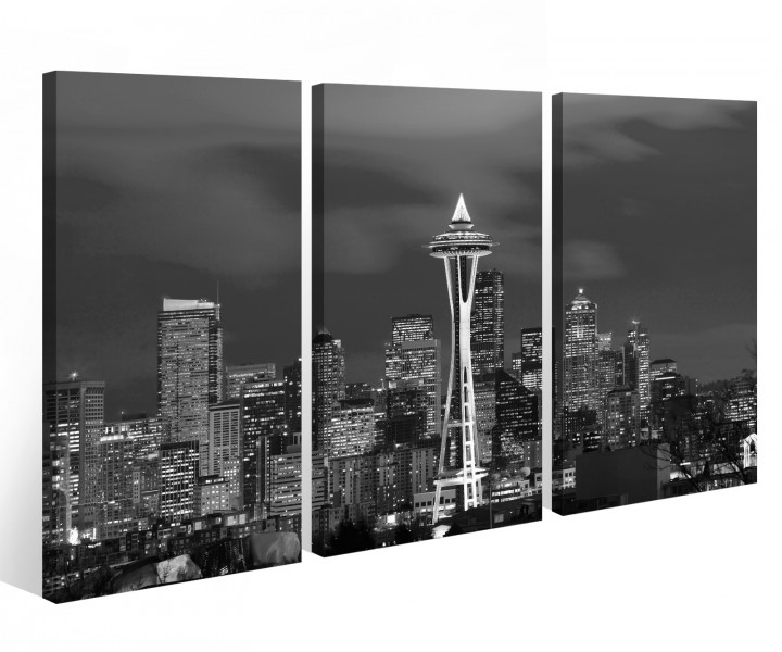 leinwandbild 3 tlg skyline seattle usa amerika leinwand bild bilder holz fertig gerahmt 9p1003. Black Bedroom Furniture Sets. Home Design Ideas