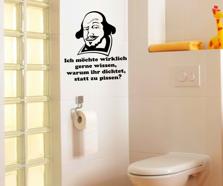 toiletten spruch aufkleber wandtattoo badezimmer wc bad. Black Bedroom Furniture Sets. Home Design Ideas