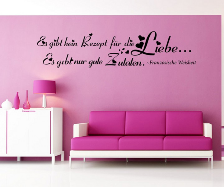 wandtattoo spruch liebe rezept blume ranke deko wand. Black Bedroom Furniture Sets. Home Design Ideas