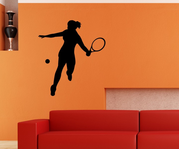 wandtattoo tennis spielerin sport spiel sticker tattoo. Black Bedroom Furniture Sets. Home Design Ideas