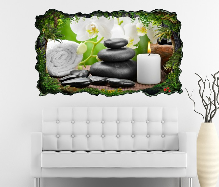 3d wandtattoo wellness kerze orchidee steine bild selbstklebend wandbild sticker wohnzimmer wand. Black Bedroom Furniture Sets. Home Design Ideas
