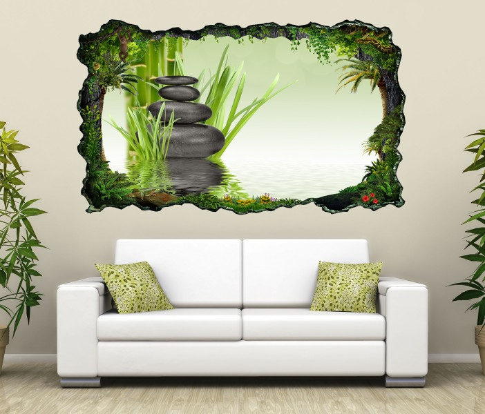 3d wandtattoo wellness zen steine bambus spa bild selbstklebend wandbild sticker wohnzimmer wand. Black Bedroom Furniture Sets. Home Design Ideas