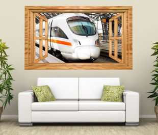 3d wandtattoo zug ice eisenbahn fahrzeug fenster selbstklebend wandbild sticker wohnzimmer wand. Black Bedroom Furniture Sets. Home Design Ideas
