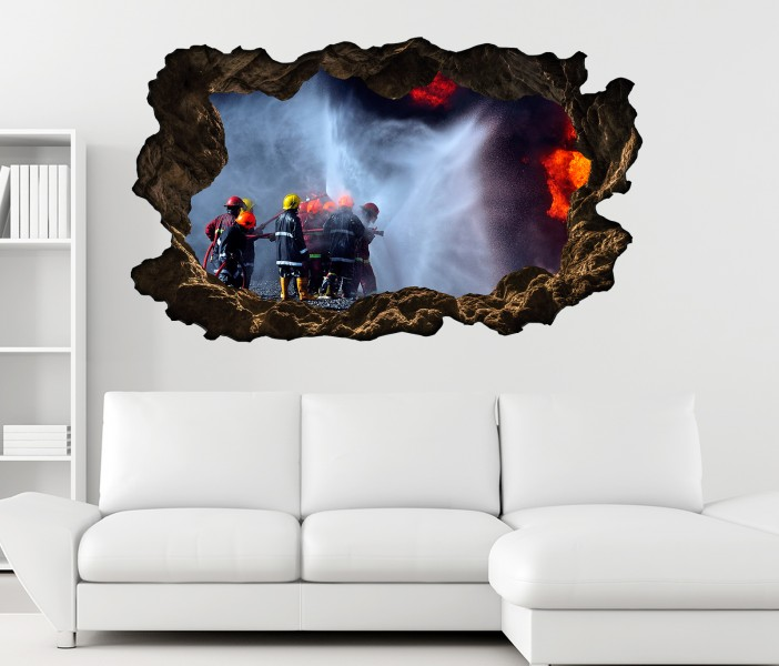 3d wandtattoo feuerwehr l scht feuer flammen bild selbstklebend wandbild sticker wohnzimmer wand. Black Bedroom Furniture Sets. Home Design Ideas