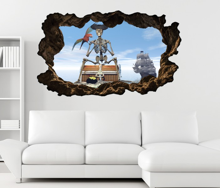 3d wandtattoo pirat schatz schiff meer papagei skelett selbstklebend wandbild sticker wohnzimmer. Black Bedroom Furniture Sets. Home Design Ideas