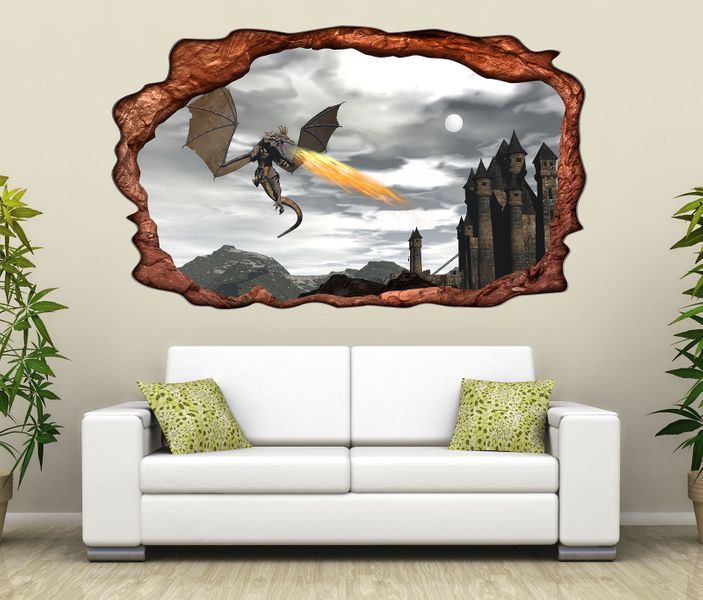 3d wandtattoo drache feuer burg schloss kinderzimmer selbstklebend wandbild sticker wohnzimmer. Black Bedroom Furniture Sets. Home Design Ideas