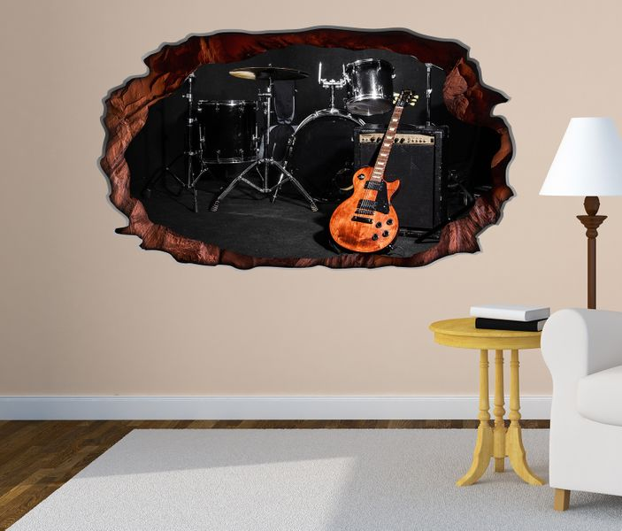 3d wandtattoo musik schlagzeug gitarre b hne bild selbstklebend wandbild sticker wohnzimmer wand. Black Bedroom Furniture Sets. Home Design Ideas