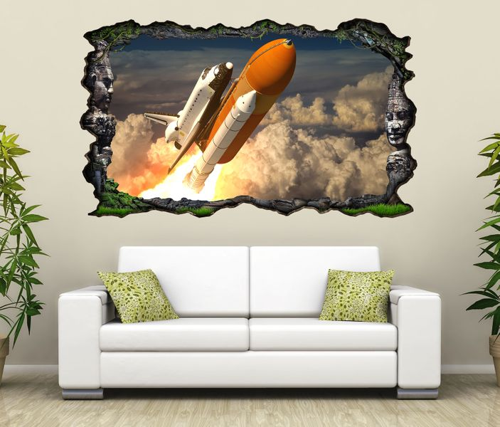 3d wandtattoo weltraum rakete space shuttle himmel selbstklebend wandbild sticker wohnzimmer. Black Bedroom Furniture Sets. Home Design Ideas
