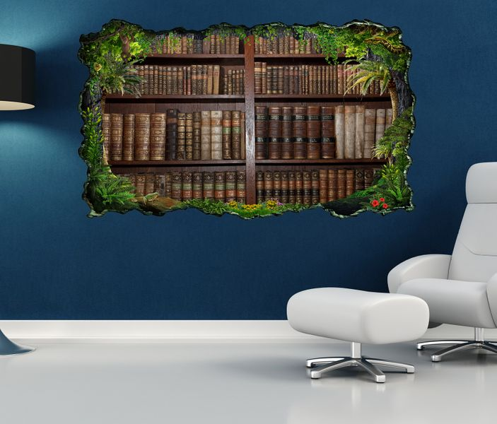 3d wandtattoo alte b cher buch regal antik bibliothek selbstklebend wandbild sticker wohnzimmer. Black Bedroom Furniture Sets. Home Design Ideas