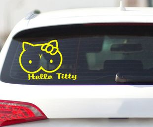 Aufkleber Shocker Hello Titty, Auto Tuning Sticker JDM OEM Schocker Tattoo 2H153