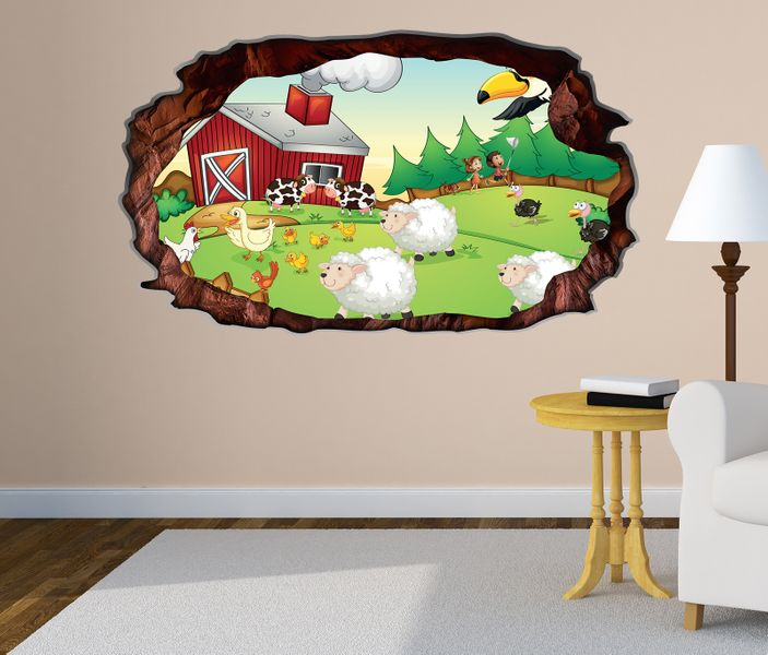 3d wandtattoo bauernhof tiere kinderzimmer schaf ente selbstklebend wandbild tattoo wohnzimmer. Black Bedroom Furniture Sets. Home Design Ideas