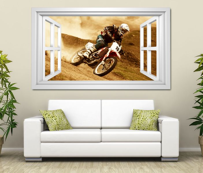3d wandtattoo motocross motorrad rennen cross selbstklebend wandbild tattoo wohnzimmer wand. Black Bedroom Furniture Sets. Home Design Ideas