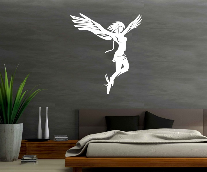 wandtattoo engel frau wand dekoration tattoo sticker. Black Bedroom Furniture Sets. Home Design Ideas
