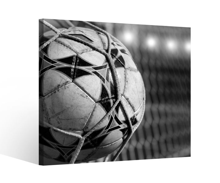 leinwandbild 1tlg fussball netz ball fu ball tor goal schwarz wei leinwand bild bilder holz. Black Bedroom Furniture Sets. Home Design Ideas