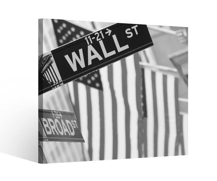 leinwandbild 1tlg wall street usa flagge new york schwarz wei leinwand bild bilder holz gerahmt. Black Bedroom Furniture Sets. Home Design Ideas