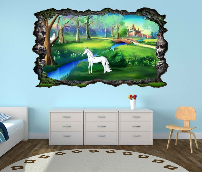 3d wandtattoo kinderzimmer pegasus einhorn schloss cartoon. Black Bedroom Furniture Sets. Home Design Ideas