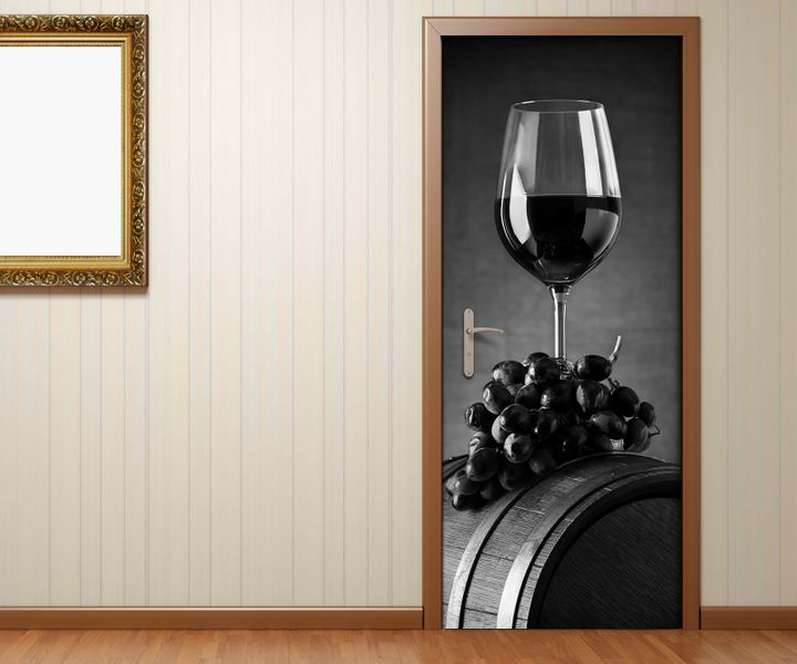 t raufkleber glas wein trauben k che holz fass schwarz wei t r bild t rposter t rfolie. Black Bedroom Furniture Sets. Home Design Ideas