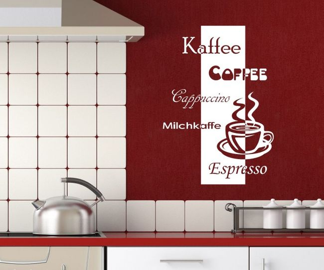 Wandtattoo kaffee coffee cappuccino kuche tasse text wand for Wandtatoos küche