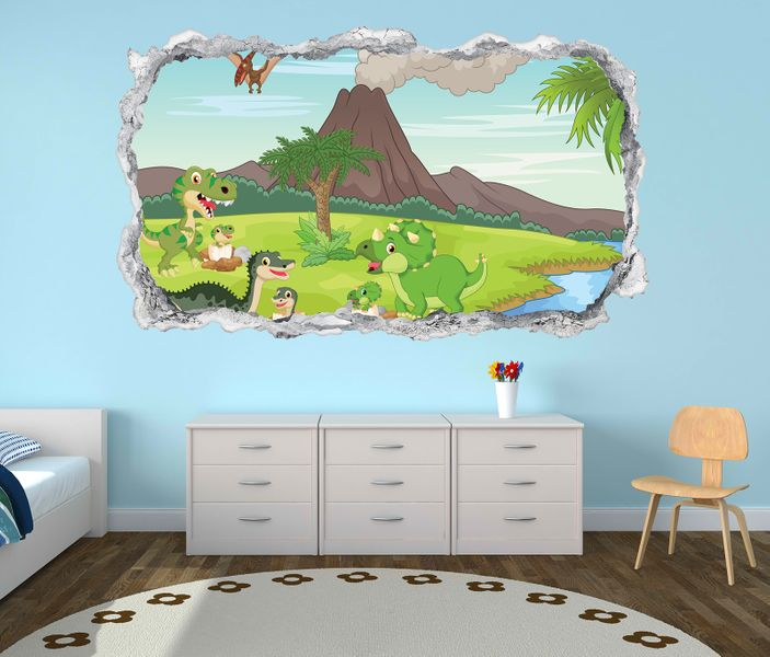 3d wandtattoo kinderzimmer dino vulkan cartoon wand. Black Bedroom Furniture Sets. Home Design Ideas