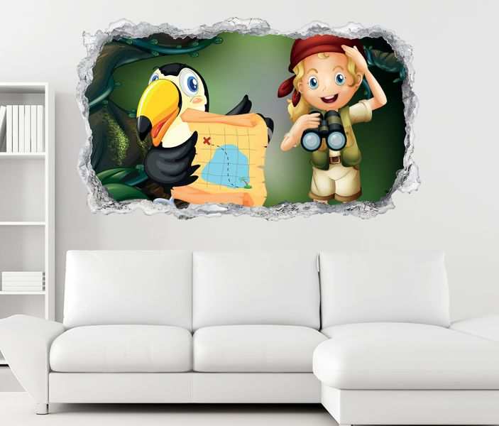 3D Wandtattoo Kinderzimmer Pirat Papagei Cartoon Wand Aufkleber ...