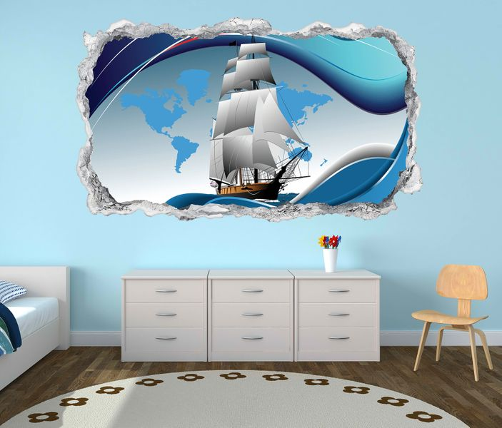 3d wandtattoo schiff boot welt karte reise kinderzimmer. Black Bedroom Furniture Sets. Home Design Ideas