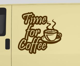 Auto Aufkleber Time for Coffee Kaffee Cafe´ Essen Deko Text Tattoo Sticker 5Q802
